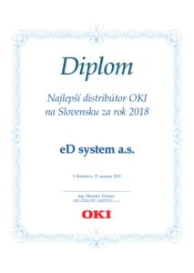 Najlepším distribútorom OKI na Slovensku za rok 2018 je eD system